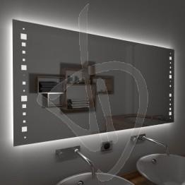 Specchio su misura, con decoro A035 inciso e illuminato e retroilluminazione a led