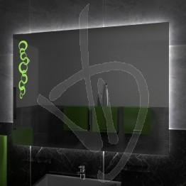 Specchio su misura, con decoro A025 inciso, colorato e illuminato e retroilluminazione a led