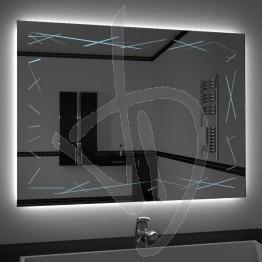 Specchio su misura, con decoro A037, inciso, colorato e illuminato e retroilluminazione a led