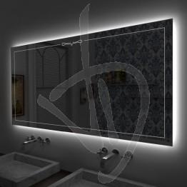 Specchio su misura, con decoro B024 inciso e illuminato e retroilluminazione a led