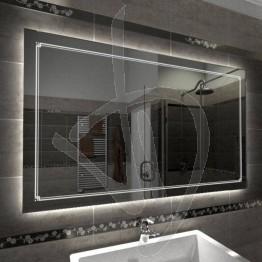 Specchio su misura, con decoro B011 inciso e illuminato e retroilluminazione a led