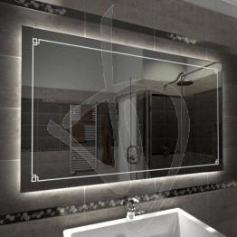 Specchio su misura, con decoro C016 inciso e illuminato e retroilluminazione a led