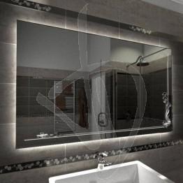 Specchio su misura, con decoro C023 inciso e illuminato e retroilluminazione a led