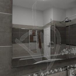 Specchio bagno, con decoro C013