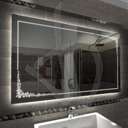 Specchio su misura, con decoro C005 inciso e illuminato e retroilluminazione a led