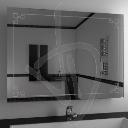 Specchio bagno, con decoro B013