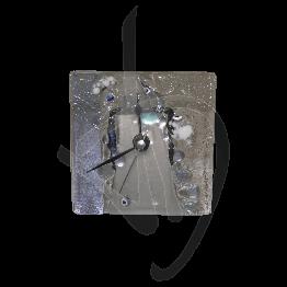 Orologio da tavolo in vetro di Murano, tonalità viola chiaro, realizzato a mano