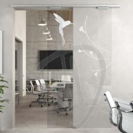 Porta decorata in vetro, porta scorrevole su misura (decoro opzionale)