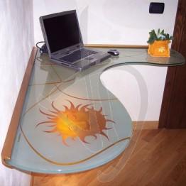 Scrivania decorata ergonomica in vetro, su misura