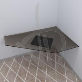 Scrivania angolare sospesa in vetro trasparente bronzato, su misura