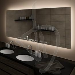 Specchio con logo inciso ed illuminato, con retroilluminazione a led