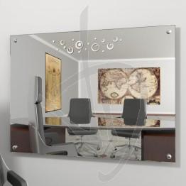 Specchio parete, con distanziali e decoro A028