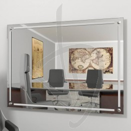 Specchio parete, con distanziali e decoro B018