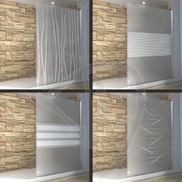 Vetro doccia fisso, su misura, in vetro satinato decorato