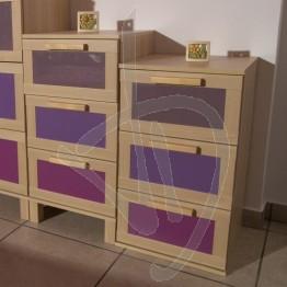 Kit 3 Vetri Laccati (3 colori) per Aneboda, Cassettiera Piccola